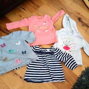 Lot of 4 baby girl long sleeve shirts